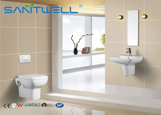 Chiny Bathroom Wall Hung Basin White Standing Ceramic Half Semi Pedestal Sink fabryka