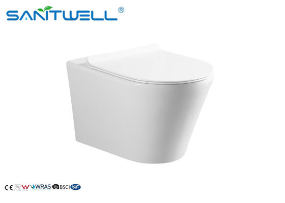 Sanitary Ware Wall Hung Wc / White Color Round Ceramic Wall Outlet Toilet