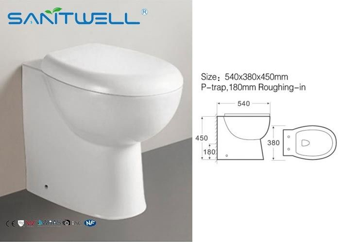 Ścienny toaleta Salon Hotel, Compact Close Coupled WC 540 * 380 * 450 mm dostawca